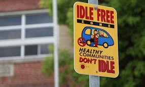 Idle Free sign in front of a building