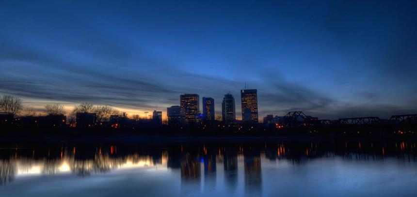 Winnipeg skyline at dusk