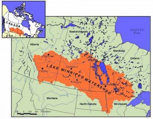 Lake Winnipeg watershed map